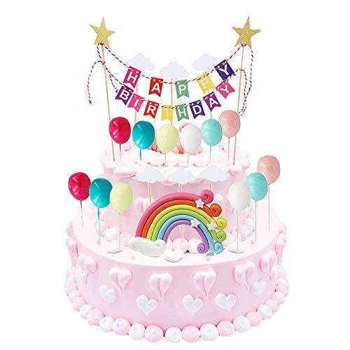 Lifreer 19Pcs Cake Topper Alles Gute zum Geburtstag Kuchen Ammer Regenbogen Wolke Luftballons Kuchendeckel Schöne Kinder Kuchen Dekoration