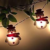 XUXI Muñeco de nieve de árbol de Navidad LED guirnalda de luces de copos de...