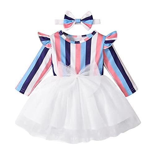 Newborn Toddler Kids Girls Tulle Tutu Princess Dress Clothes Chic Long Sleeve Striped Ruffle Romper Pullover Top+Headband