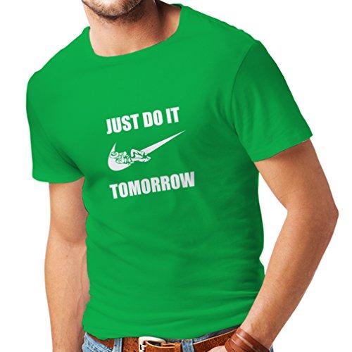lepni.me Camisetas Hombre Solo hazlo mañana, motivación del Entrenamiento, Frases Divertidas de la Parodia. (XXX-Large Verde Blanco)