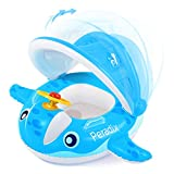 Peradix Baby Pool Float with Canopy Sunshade, Whale Infants Water Toys Inflatable Swimming Ring for Toddlers in Summer, with Sunhat & Sand Play Molds Toys(Blue)