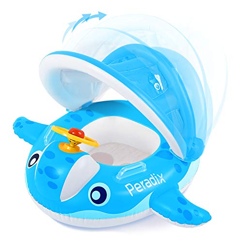 Peradix Baby Pool Float with Canopy Sunshade Whale Infants Water Toys Inflatable Swimming Ring for Toddlers in Summer with Sunhat amp Sand Play Molds ToysBlue