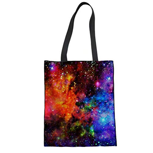 chaqlin Damen Einkaufstasche aus Leinen, Galaxie, lässig, Shoudler Einheitsgröße Galaxy-3