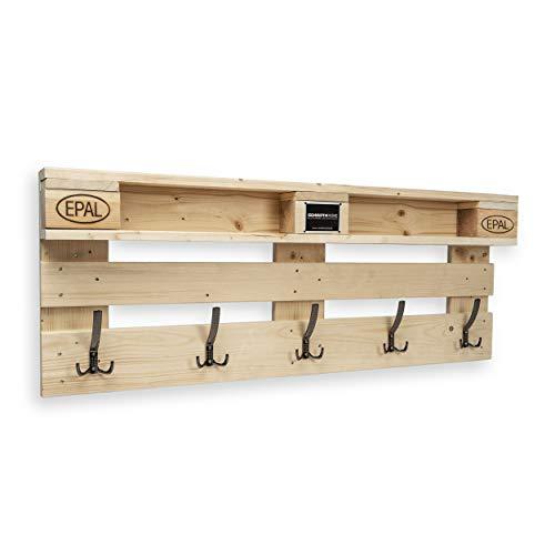 Schroth Home PALrobe 120 x 47 x14 cm rechteckig – Wandgarderobe mit Ablage – Garderobe aus Holz – mit Haken