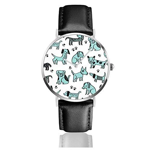 Armbanduhr für Hunde und Haustiere, mit Lederarmband, klassisch, Edelstahl, Quarzuhr