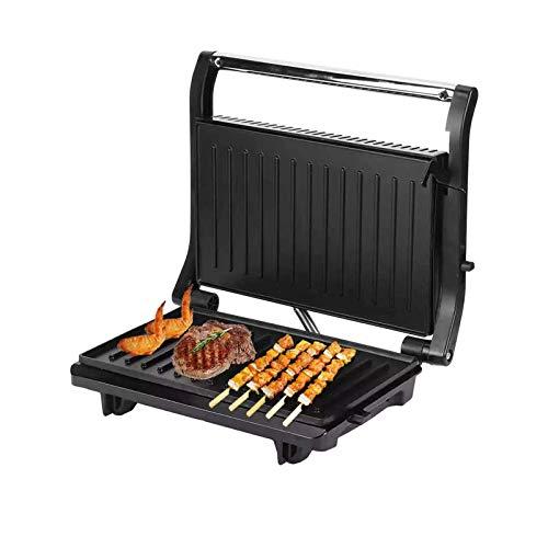 YLJYJ Máquina de Parrilla para Barbacoa sin Humo, Placa eléctrica Multifuncional para Barbacoa, bistec, sartén a la Parrilla, máquina para Hacer sándwiches, máquina de Desayuno Panini (BbbQ