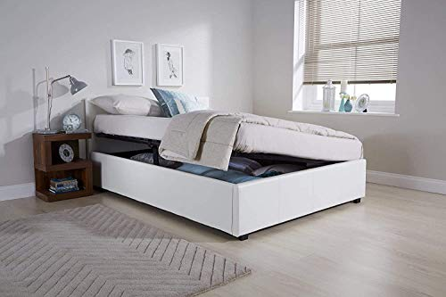 KOSY KOALA Ottoman Storage Bed Side Lift Opening white Colour (White, 4FT SMALL DOUBLE)