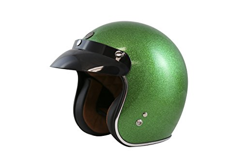 TORC (T50 Route 66) 3/4 Helmet with Super Flake Speciality Paint (Limecycle Green, X-Small)