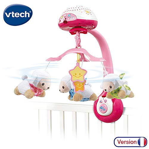 VTech Lumi Compte-Moutons Rose Mobile, 503355, Rosa / Weiß (Französisches  Audio)
