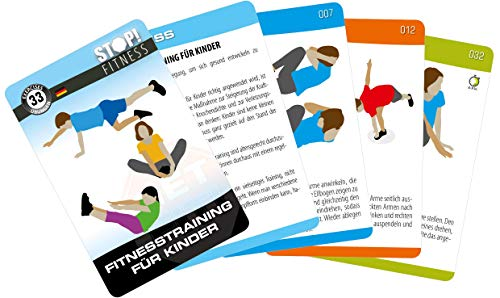 STOP! Fitness | Fitnesstraining für Kinder | Trainingskarten Übungskarten, deutsche Version, Kartengröße 66 x 100 mm mit Kunststoffbox