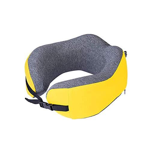 SMSOM Almohada de Cuello de Espuma de Memoria de la Memoria de la Almohada para el avión Portátil Transpirable y Lavable Soporte de Cuello ergonómico Almohada, Azul (Color : Yellow)
