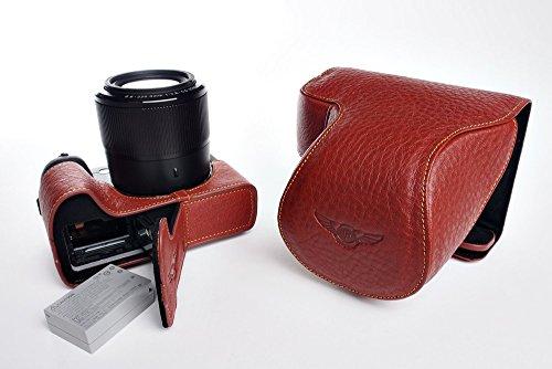 TP Handgemaakte Echt Lederen Full Camera Case Bag Cover voor Canon G3X G3 X 24-600mm Lens Bodem Opening Bruin Kleur