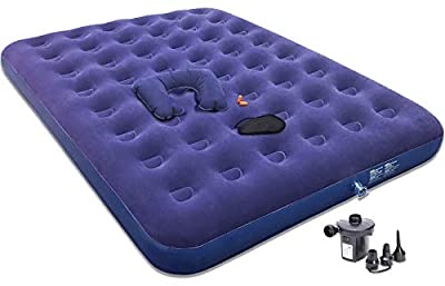 Gift Queen Air Mattress with Electric Pump -Portable Blow Up Mattress for Camping to Gifting Eye Mask/Pillow/Ear Plugs -Durable Inflatable Air Bed -Gifts for Men/Women/Her/Him