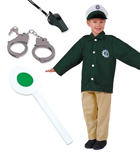 KarnevalsTeufel Kinder-Kostüm-Set Polizist Polizei-Jacke, -Mütze, -Hose Police-Officer-Kind (116)