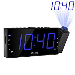 "OnLyee Projection Alarm Clock with AM FM Radio, 7"" LED Digital Ceiling Display, Sleep Timer, 180°Projector, Desk/Shelf Clock with Dimmer, USB Charging, AC Powered and Battery Backup for Bedroom"