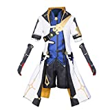 CosplayDiy Men's Suit for Game Genshin Impact Albedo Cosplay Costume Adult Albedo Deluxe Uniform Suit L White