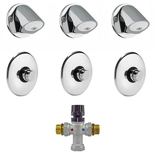 Ahorro de agua Incluso Schluss–Sistema de ducha rasante automático programada 3puestos de ducha selbstabschaltend vestuario Sport