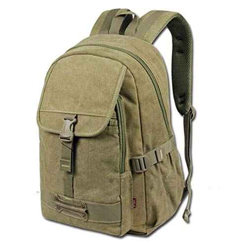 Fashion Men's Backpack Bag Outdoor Backpack For College Boys Large Capacity Casual Backpack leather (Color : Green, Size : S)