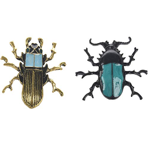 TOOGOO Escarabajo de Esmalte Broche de Insectos Alfiler Regalos de Joyería de Moda para Mujer/Hombre, Cama Insecto + Escarabajo - 2 Piezas