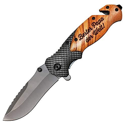 Taschenmesser mit Gravur Holz Messer Outdoor Klappmesser mit Holzgriff Männer Geschenk Bester Papa der Welt
