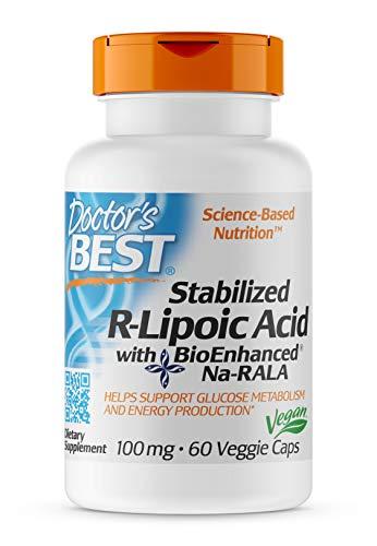 Doctor's Best, Stabilized R-Lipoic Acid, with BioEnhanced Na-RALA, 100 mg, 60 vegetarian Capsules, soy-free, gluten-free