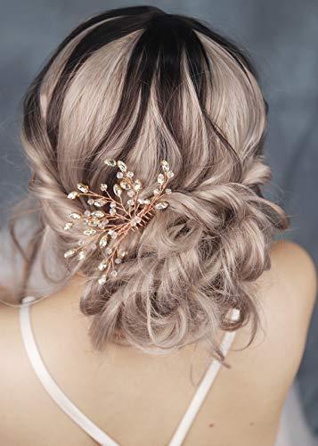FXmimior Kopfschmuck für Hochzeit, Brautschmuck, Vintage-Design, Kristall, Blume, Haarkamm, Kopfschmuck für Damen/Mädchen