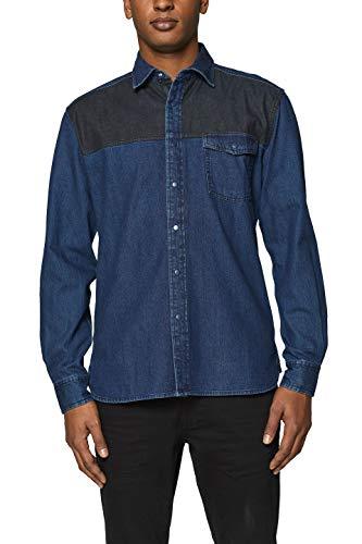 edc by ESPRIT Herren 019CC2F007 Jeanshemd, Blau (Blue Dark Wash 901), Large (Herstellergröße: L)
