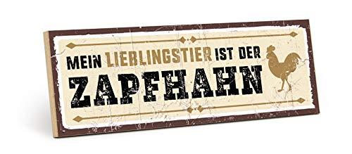 TypeStoff Holzschild mit Spruch – Zapfhahn – im Vintage-Look mit Zitat als Geschenk und Dekoration zum Thema Bier, Party und Hahn (9,5 x 28,2 cm)
