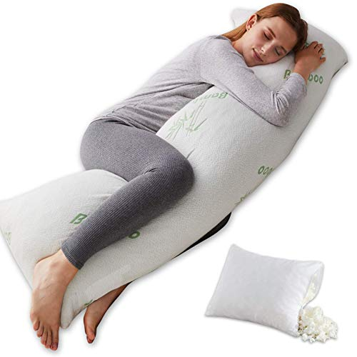 Ubauba Luxury Shredded Memory Foam Body Pillow,Adjustable Firm Long Pillows for Adults with Breathable Bamboo Cover,Cooling Large Hug Pillow for Sleeping,20x54 inch
