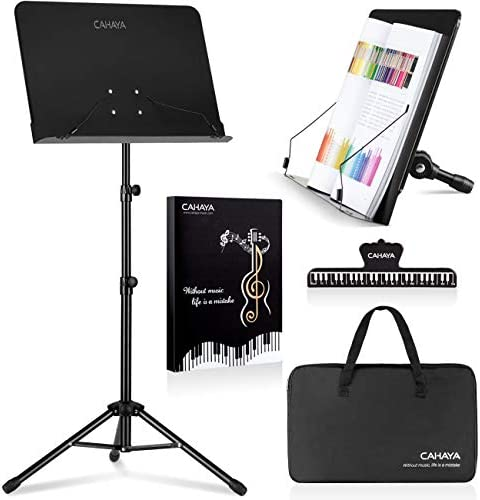 CAHAYA 2 in 1 Dual use Sheet Music Stand Desktop Book Stand Metal Portable Solid Back with Carrying product image