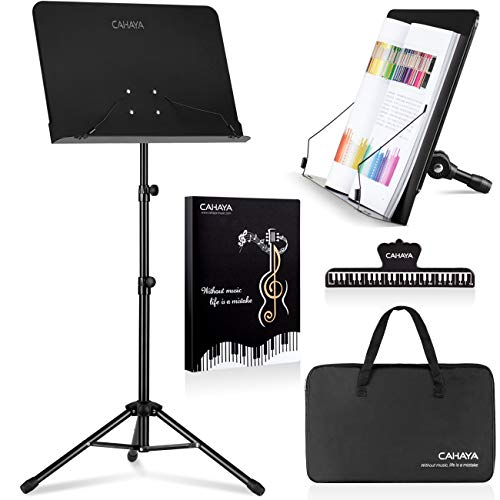 CAHAYA 2 in 1 Dual-use Sheet Music Stand & Desktop Book Stand Metal Portable Solid Back with Carrying Bag, Sheet Music Folder & Clip, Projector Stand,...