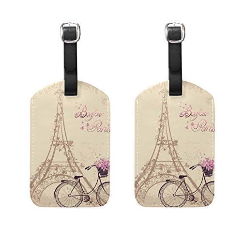 Ahomy Eifel Tower Bicycle Luggage Tags Large Suitcase Labels Bag Travel Accessorie Set of 2
