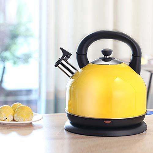 YZY™ Bollitore in acciaio inox, 1500 W, 2,0 litri, protezione contro il surriscaldamento, bollitore per teiera, manico Cool-Touch, senza fili, giallo