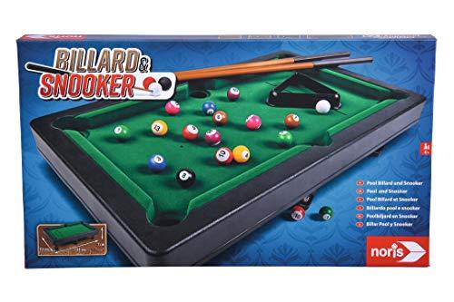 Noris 606167704 Billiard & Snooker-Aktionsspiel für die ganze Familie-Spielzeug Pool Billard & Snooker inkl. 2 Queues, 16 Billard-und 17 Snooker Kugeln und Triangel, für Kinder ab 4 Jahren