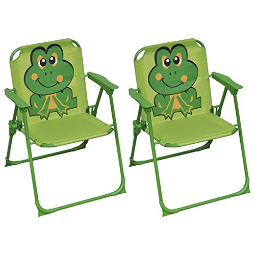 vidaXL 2X Kinder Gartenstuhl Klappstuhl Faltstuhl Kinderstuhl Sessel Stuhl Klappsessel Kindermöbel Kindersessel Garten Terrasse Grün Stoff