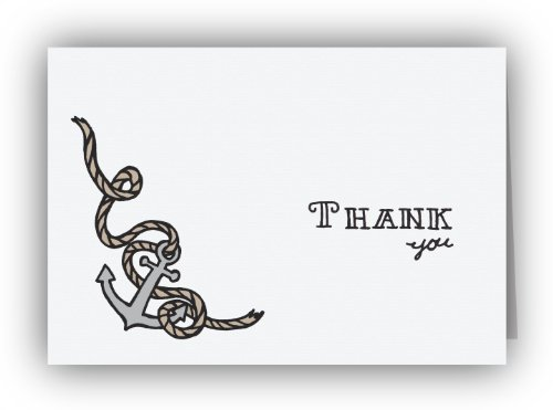 Nautical Anchors Aweigh Eco Thank You Cards - 24 Cards & Envelopes