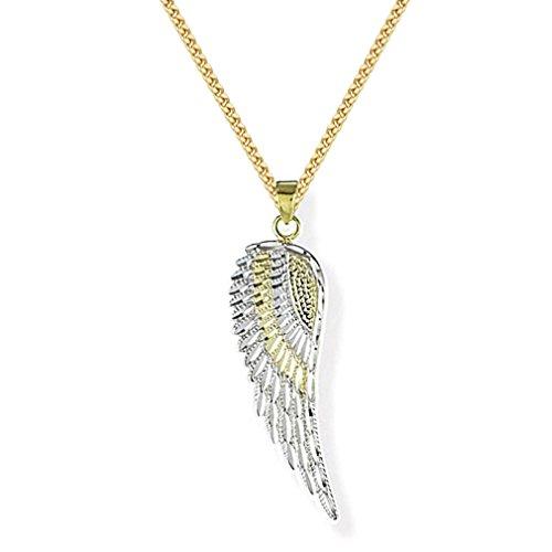 Anhänger Engelsflügel mit Herz Schutzengel 925 Silber - bicolor von Haus der Herzen® mit Kette 333 Gold