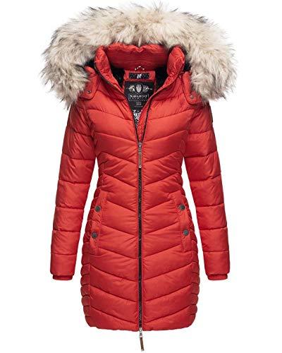 Navahoo Premium Damen Winterjacke Steppjacke Jacke lang Stepp warm Teddyfell B821 [B821-Nimal-Rot-Gr.M]