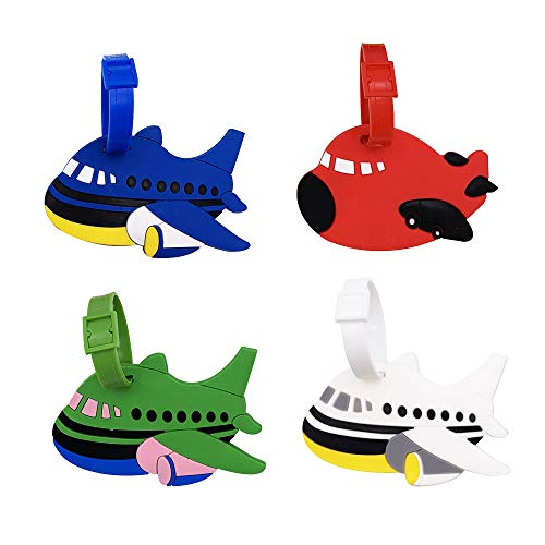 Mziart Set of 4 Cute Cartoon Airplane Luggage Tags Fun Suitcase Bag Identify Label TSA Airlines Travel ID Baggage Tags Name Card Holders