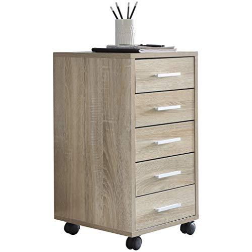 WOHNLING Rollcontainer LISA Sonoma 33x63x38cm Holz Schubladenschrank Schreibtisch | Büro Schrank mit 5 Schubladen | Container Rollschrank klein Standcontainer schmal | Schreibtischcontainer mit Rollen