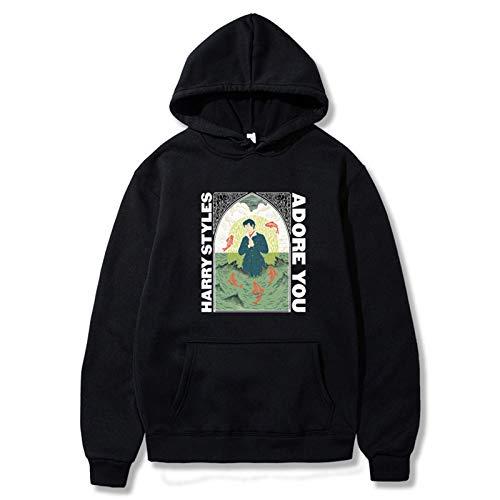 Harry Styles Hoodies, Streetwear-Sweatshirt, modischer Mantel, Unisex, bedruckte Kleidung, schwarz, Größe S