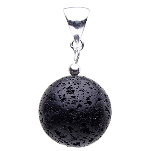 Anhänger aus echter Lava mit Poren & 925er Silber schwarz Kugel Ø18mm Damen