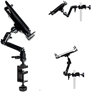 ChargerCity Heavy Duty 4-Way Multi Joint Adjust Aluminum Alloy Pole/Bar Music Mic Microphone Stand Clamp Mount for iPad Pro Air Mini Galaxy Surface Pro/Book 7-12
