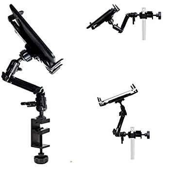 ChargerCity Heavy Duty 4-Way Multi Adjust Aluminum Alloy Pole/Bar Music Mic Microphone Stand Clamp Mount for iPad Pro Air Mini Galaxy Surface Pro 7-12  Tablets  Good for Live Video Streaming Also