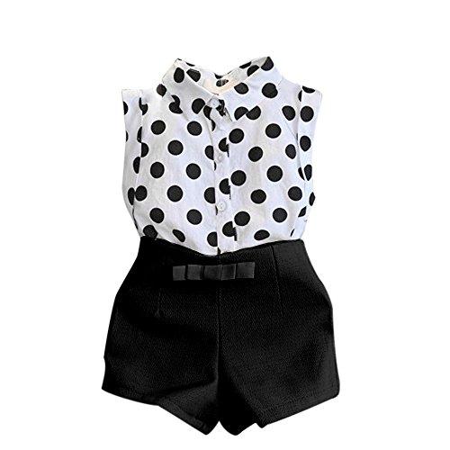 UFODB Mädchen Set Kleidung Babykleidung Baby Mädchen Bekleidung im Set T-Shirt Top und Shorts Hose Blumen Ärmellos mit Gürtel
