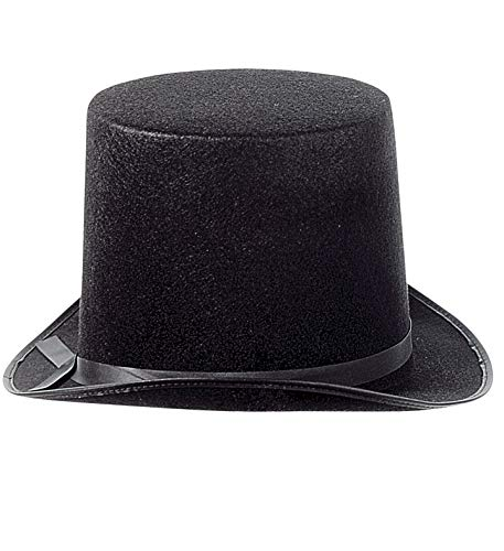 Luxuspiraten - Herren sehr großer Filz Zylinder Hut im Stil des 18. Jahrhunderts, perfekt für Karneval und Halloween, Schwarz