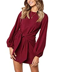 90%Polyester+10% Spandex, soft and stretchy fabric provides all day comfort Features: Above knee length,Long sleeve,round neck,Belted,Lightweight,Solid color,Casual style,Office,Wear to Work Unique lantern sleeves and wide belt design can hide the be...