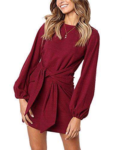 PRETTYGARDEN Women's Elegant Long Lantern Sleeve Short Dress Crewneck Tie Waist Knit Cocktail Dress Wine Red
