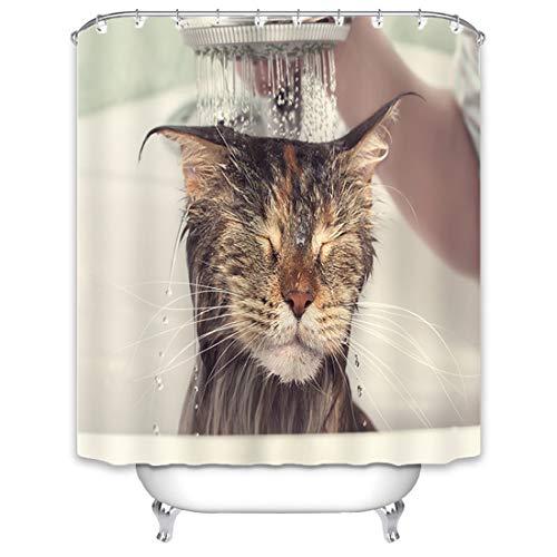 X-Labor Tier Duschvorhang 240x200cm Wasserdicht Stoff Anti-Schimmel inkl. 12 Duschvorhangringe Waschbar Badewannevorhang 240x200cm Katze-A