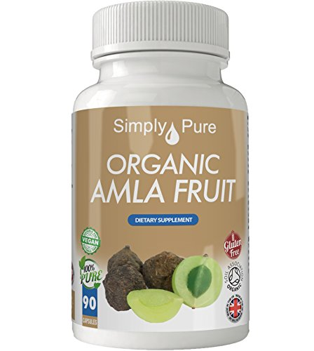 Simply Pure Organic Amla Capsules x 90, 650mg, 100% Natural Soil Association Certified, Gluten Free, GM Free and Vegan.